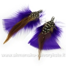 Plunksnų pakabukas pūkuotas violetinės spalvos 8 cm