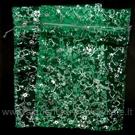 Organzos maišeliai žali su sidabro spalvos ornamentais14.5 x 19.5 cm