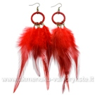 Raudonų plunksnų auskarai
