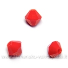 Čekiškas stiklas raudonas neskaidrus dvipusio konuso formos 4 mm