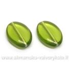 Stiklas žalias plokščio ovalo formos 19x13 mm
