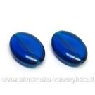 Stiklas mėlynas plokščio ovalo formos 19x13 mm