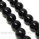 Juodas agatas 8 mm karoliukų juosta