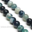 Natūralus agatas tamsiai žalsvai mėlynos spalvos karoliukų juosta 6 mm