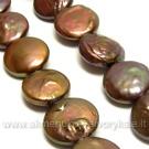 Natūralūs gėlavandeniai rudos spalvos Keshi perlai diskelio formos