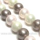 """Kriauklės perlų juosta """"Balta-rausva-rusva"""""""